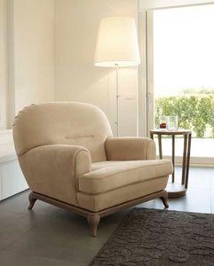 Massenet Sessel, Abgerundeter Sessel mit Holzgestell