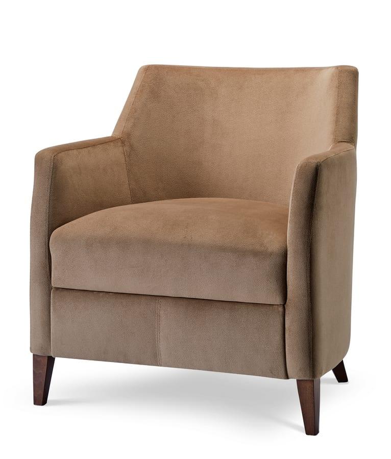 MILANO LOUNGE 1, Sessel in Samt mit Holzbeinen bedeckt