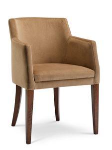 MILANO P, Velvet Sessel mit Holzbeinen
