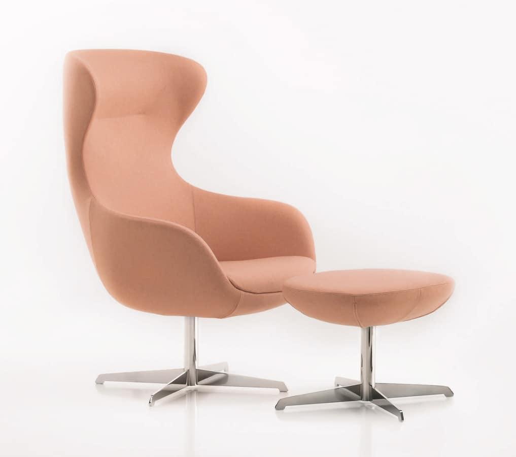 PL 5001, Sessel mit Sockel aus Stahl, mit hoher Rückenlehne