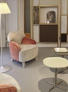 Polpetta, Bequemen Sessel aus Stoff vollständig gepolstert, weichen Linien, ideal für Wohnräume und Ruhebereiche