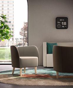 ROUND, Sessel mit Holzfüßen für Wartezimmer