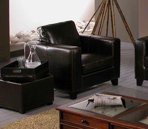 Sessel Chicago, Sessel aus schwarzem Leder