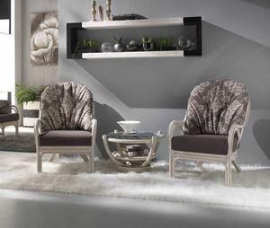 Sessel Galileo, Ethnischer Sessel aus weißem Rattan