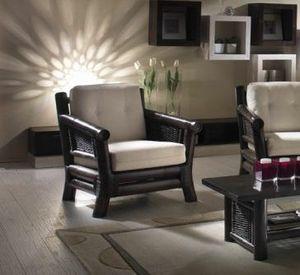 Sessel Osaka black, Ethnischer Sessel mit gewebter Struktur