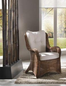 Sessel Vinci, Ethnischer Sessel in antikem Korbgeflecht