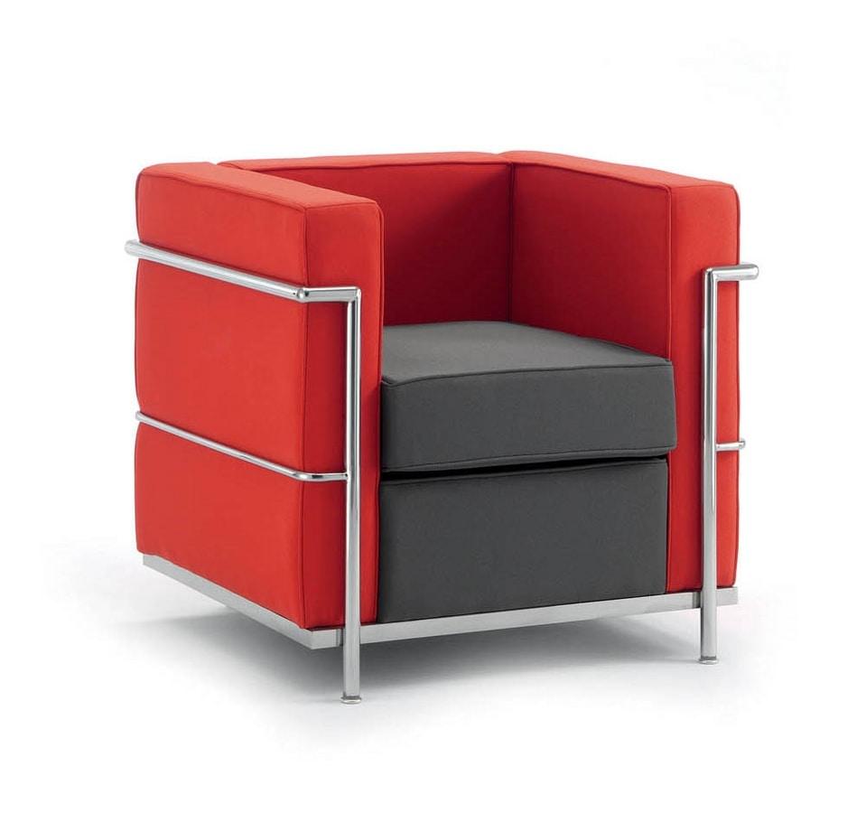 UF 160, Bequemen Stuhl, Chromstahl-Rahmen, für moderne Büros