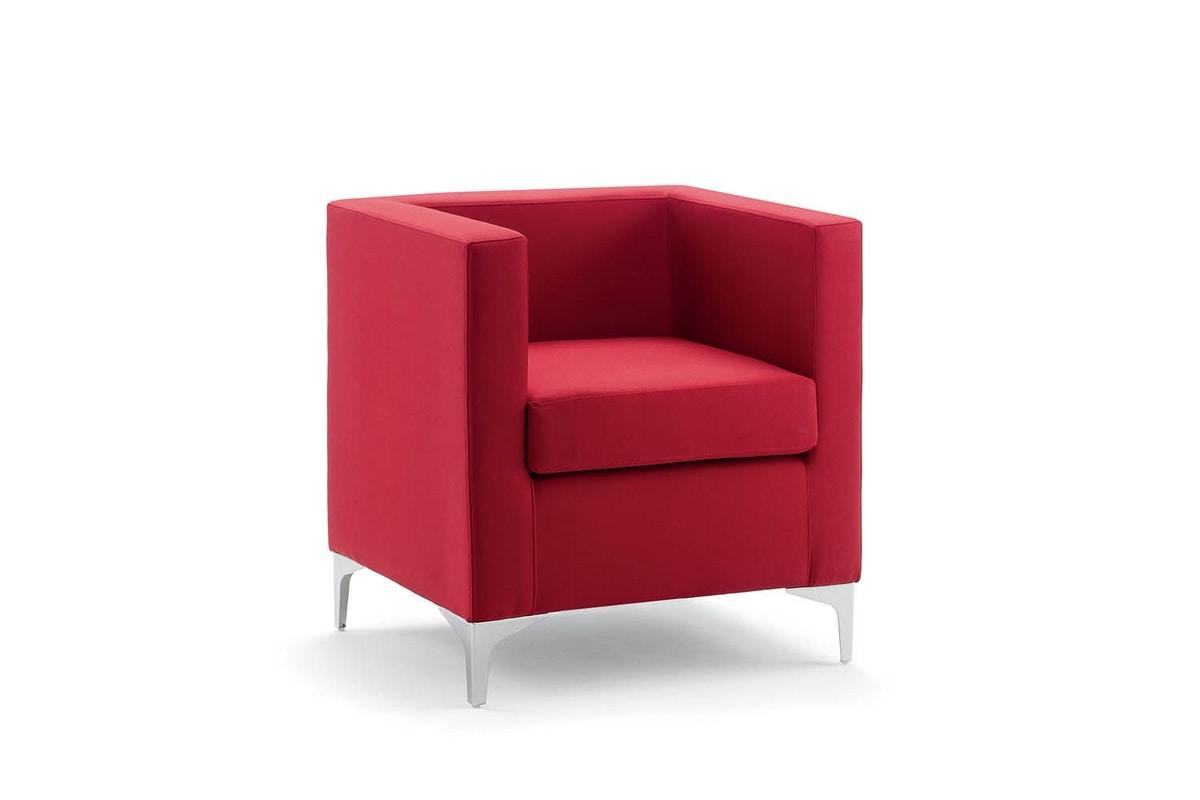 UF 163, Sessel mit Metallfüßen, quadratische Linien