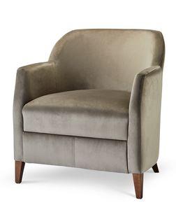 VERONA LOUNGE 1, Sessel in Stoff mit Holzfüßen gepolstert