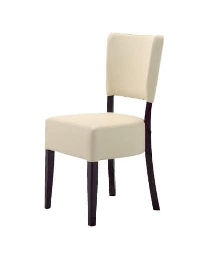301, Minimalist Stuhl in Holz, gepolstert, für die Restaurants
