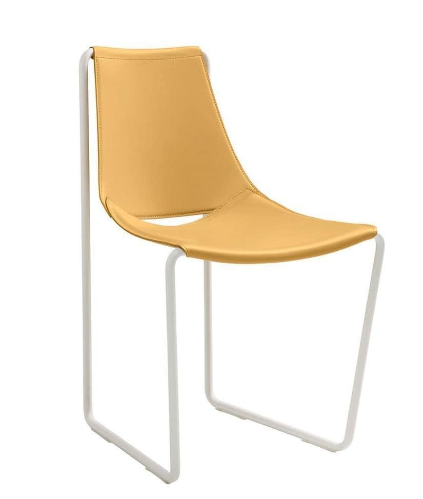 Stuhl mit kufen in metall und leder idfdesign for Design stuhl mit kufen