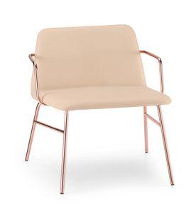 ART. 0035-MET-TU-CB BARDOT, Gepolsterter Lounge Sessel mit Armlehnen