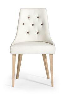 Daisy button, Gepolsterter Stuhl, Rückenlehne mit Knöpfen verziert