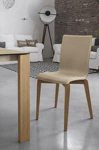 GLAMOUR WOOD SE135, Stuhl aus Massivholz, gepolsterter Sitz und Rücken, in der modernen Art