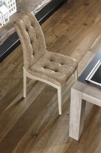 GRENOBLE SE180, Stuhl aus lackiertem Holz und gepolstert getuftet