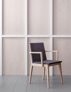 IRLANDA P, Quadratischer Stuhl aus Holz mit Armlehnen