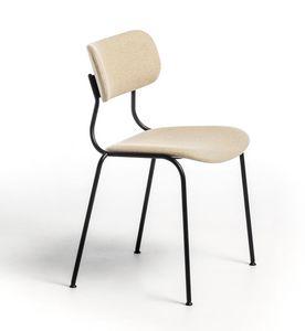 Kiyumi Fabric, Stapelbarer Stuhl mit gepolstertem Sitz