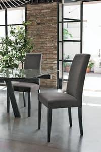 LUGANO SE504, Stuhl mit Holzsockel, gepolsterter Sitz und Rücken, Stoffbezug, in einem modernen Stil