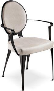 Miss Stuhl mit Armlehnen und gepolsterter Rückenlehne, Gepolsterter Stuhl mit Eisenstruktur