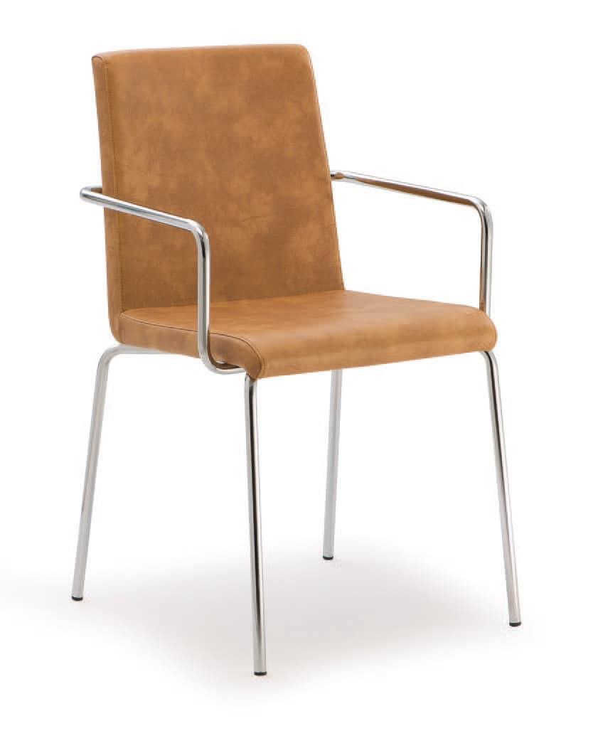 PL 510, Stuhl aus verchromtem Metall, in Kunstleder überzogen