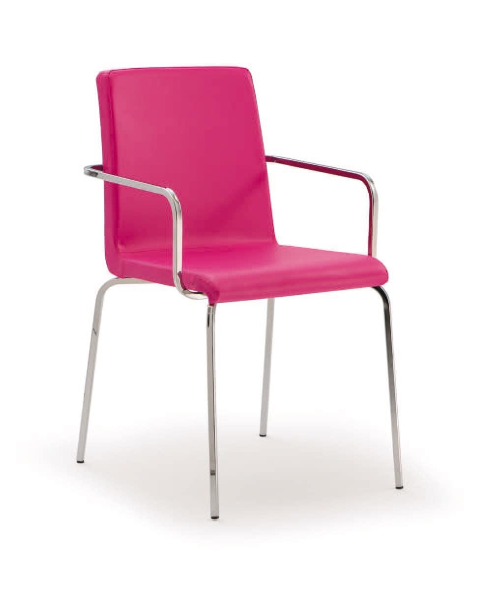 PL 511, Gepolsterter Stuhl aus Metall mit den Armen, für Restaurants
