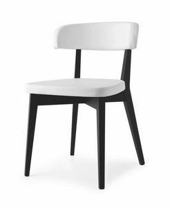 Poison, Stuhl aus Buchenholz, in Leder gepolstert, in verschiedenen Farben