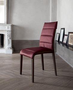 PORTOFINO, Stuhl aus Holz mit Lederbezug