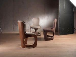 SE49 Venere, Weichen Stuhl mit Rückenlehne in furniert Nussbaum Canaletto