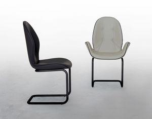 SORRENTO, Gepolsterter Stuhl mit freitragender Unterseite