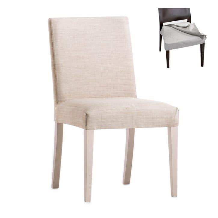 stuhl mit holzrahmen sitz und r cken gepolstert abnehmbarer stoffbezug f r vertrags und. Black Bedroom Furniture Sets. Home Design Ideas