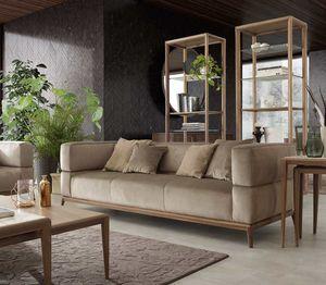 Alba Sofa, 3-Sitzer-Sofa mit Bezug aus gewebtem Stoff