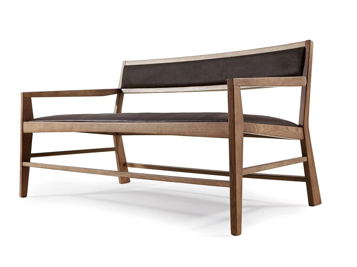Sofa Mit Minimalen Design In Eschenholz Gepolstert Idfdesign