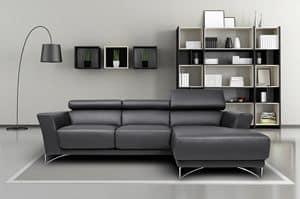 Azelia, Sofa aus Stahl, Tanne, Polyurethan und Polyester