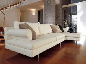 Brera corner, Modernes Sofa mit Halbinsel, verchromten Füßen, für Wohnzimmer