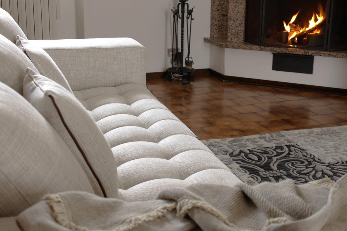 Brunelleschi, Glamour-Sofa mit Leder- und Stoffbezug