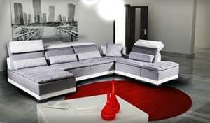 California, Modulares Sofa mit Mechanik, echtes Leder
