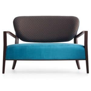 Cammeo 02651, Sofa aus Massivholz, Sitz und Rücken gepolstert, Stoffbezug, moderner Stil