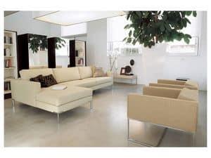 Ginger corner, Modulares Sofa, Chrom poliert Fuß für Büros und Wohnungen