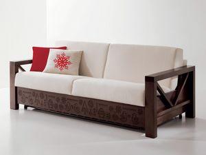 Hollywood angepasst 02, Spezielles Sofa in Holz mit personalisierten Schnitzereien