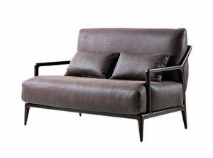 Indigo 2-Sitzer-Sofa, Zweisitziges Sofa mit Canaletto-Walnuss-Struktur