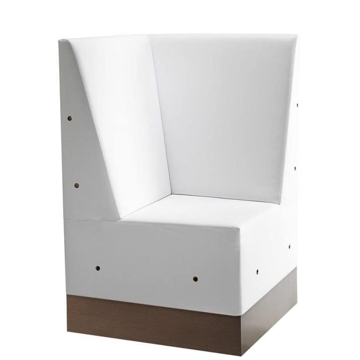Linear 02485, Corner für modulare high Bank, Laminat Boden, gepolsterter Sitz und Rücken, moderner Stil