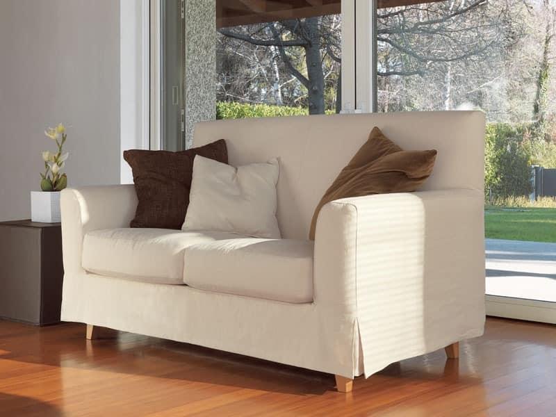 Linear Sofa, Füße in Buche massiv, für moderne Wohnzimmer | IDFdesign