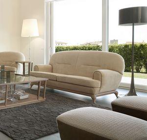 Massenet Sofa, Modernes Sofa mit abgerundeten Linien