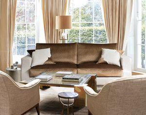 Montenapo Class, Sofa mit Kissen in Steppsamt bedeckt