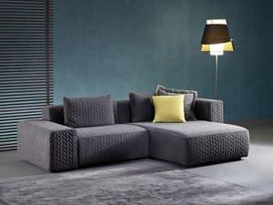 Moore, Sofa mit Halbinsel, mit elastischen Gurten entsprungen