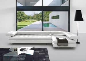 PLAYA BUENA, Elegante Sofas aus Leder, modular, mit linearen Design
