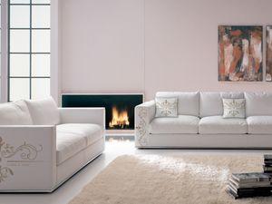 Santiago angepasst 01, Spezielles Sofa aus bedruckbarem Leder im modernen Stil
