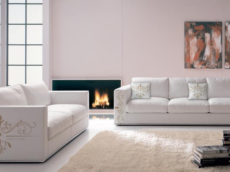 Santiago angepasst 02, Weiches Sofa, kundengerechtes bedrucktes Leder gefärbt