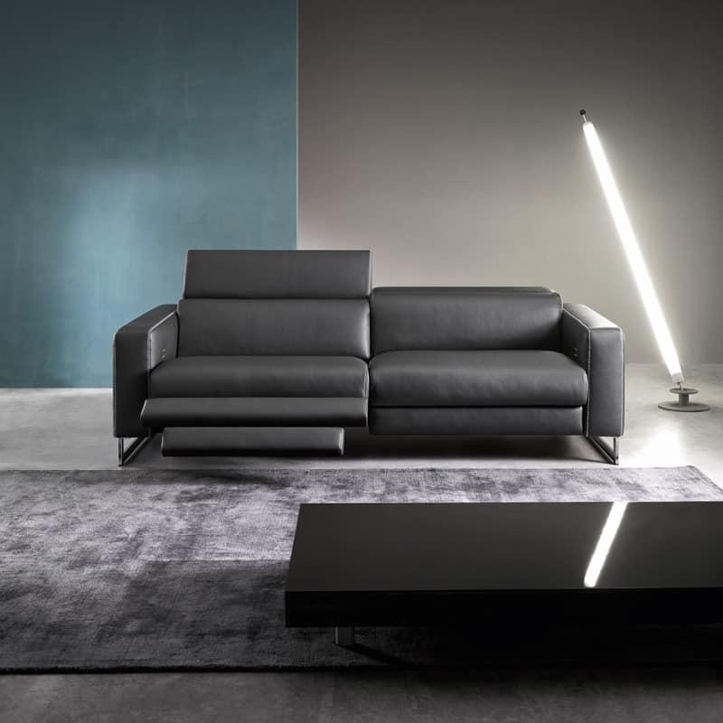 Sidney, Moderne Sofa mit Halbinsel, gepolstert