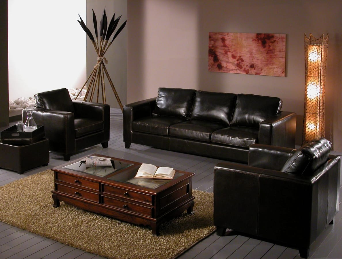 3-Sitzer-Sofa aus schwarzem Leder   IDFdesign